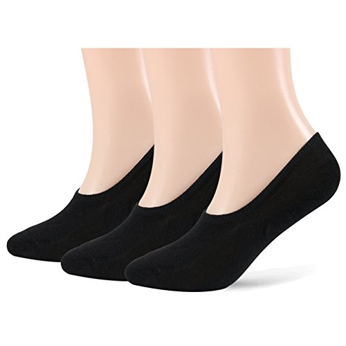 L/s Black Apparel - No Show Socks for Women – 5 pairs of Low Cut Anti-skid with Silicone Athletic and Casual Sneakers Loafer Sport Socks (Black, 3 pairs, L/XL(US Women Shoe 8.5-12))