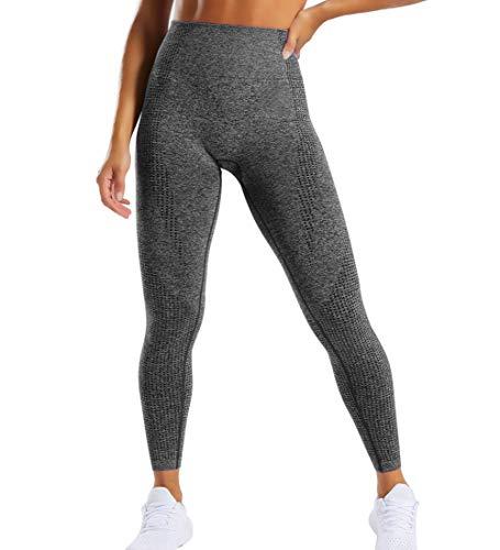 GILLYA Gym Vital Seamless Leggings for Women High Waisted Seamless Butt Leggings with Tummy Control Seamless Yoga Leggings (Dark Grey Marl, M)