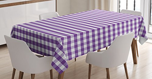 Ambesonne Checkered Tablecloth, Purple and White Colored Gingham Checks Rows Picnic Theme Vintage Style Print, Dining Room Kitchen Rectangular Table Cover, 52 W X 70 L Inches, Purple White -