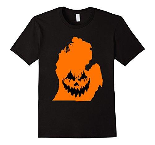 Mens Detroit Michigan Jack O' Lantern - Halloween Pumpkin Tshirt Medium Black - Detroit Halloween Events