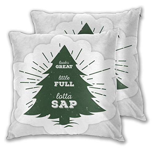 YGYP Cotton Pillowcases Standard Size Set of 2, Little Full, Lotta Sap. Green Tree Silhouette Movie Quote Design Printed Pillow Cover Square Throw Polyester Fiber Pillow Case -