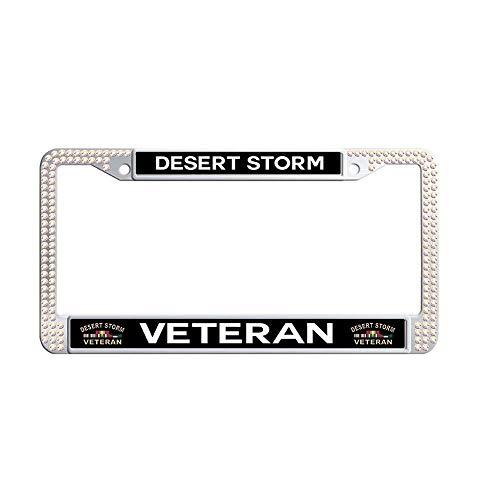JiuznseateFrame Desert Storm Veteran Colorful Bling Rhinestones Car License Plate Frame, Glitter Crystal Diamond Stainless Steel Slim Design Rhinestones Licenses Plates Frames