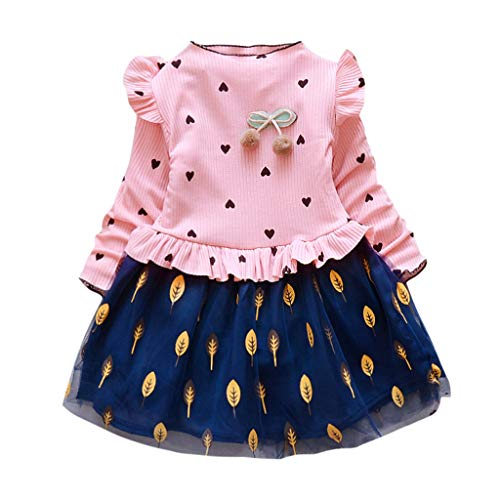 Toddler Kids Baby Girl Princess Leaves Print Tulle Party Dress Pompom Long Sleeve Clothes Outfits Pink