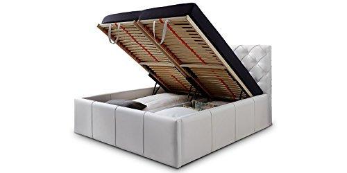 Luxus Polsterbett mit Bettkasten Nelly XXL 180x200 cm Kunslederbett Doppelbett Ehebett Weiß