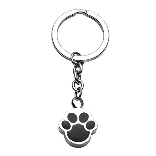 Rubber Stainless Steel Keychain - JOVIVI Free Engraving - Personalized Custom Stainless Steel Pet Puppy Dog Paw Cremation Urn Keychain Keepsake Ashes Pendant Memorial Jewelry