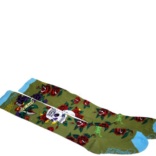 Womens Hardy Ed Roses (Ed Hardy Skull & Rose Women's Knee High Socks - Olive)