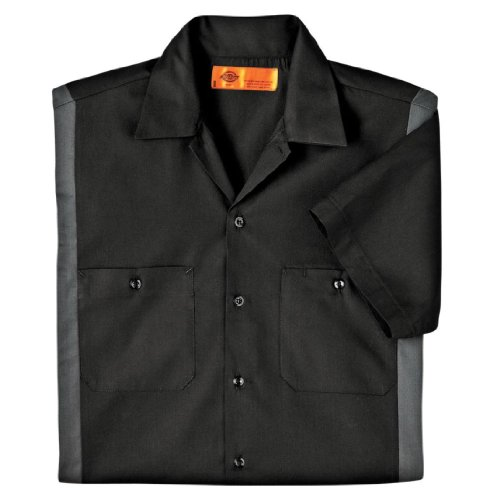 Dickies Occupational Workwear LS524BKCH 2XLT Polyester/Cotton Men's Short Sleeve Industrial Color Block Shirt, 2X-Large Tall, Black/Dark Charcoal by Dickies Occupational Workwear (Image #1)