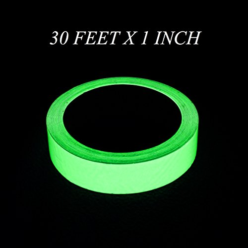 Self Adhesive Safety Tape - Glow In The Dark Tape (Light Green) - 30 Feet Length x 1 Inch Width High Luminance Event / Safety Tape,, Non-Toxic, Waterproof, Removable, Extra Long Glowing Self Adhesive Decoration Tape