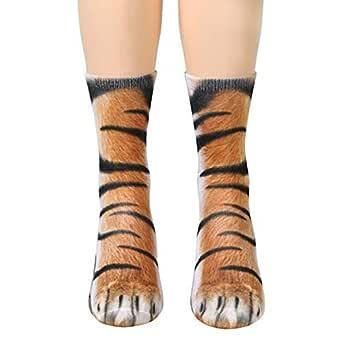 3D Animal Feet Digital Simulation Adult Socks-Tiger