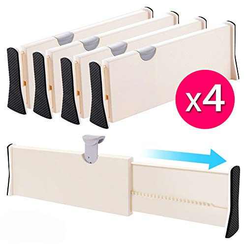 "Drawer Dividers Organizer 4 Pack, Adjustable Separators 4"" High Expandable from 11-17"" for Bedroom, Bathroom, Closet,Clothing, Office, Kitchen Storage, Strong Secure Hold, Foam Ends, Locks in Place"