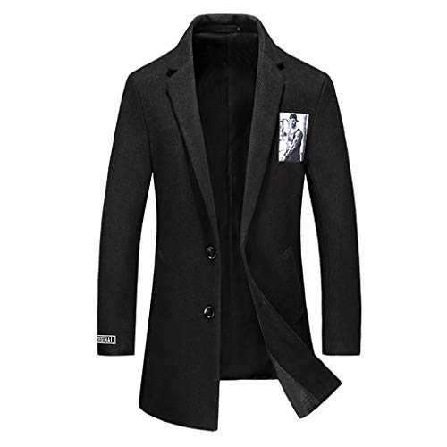 GREFER-Mens Wool Blend Pea Coat Stylish Notched Collar Trench Coats Slim Fit Long Jacket Overcoat Plus Size Black