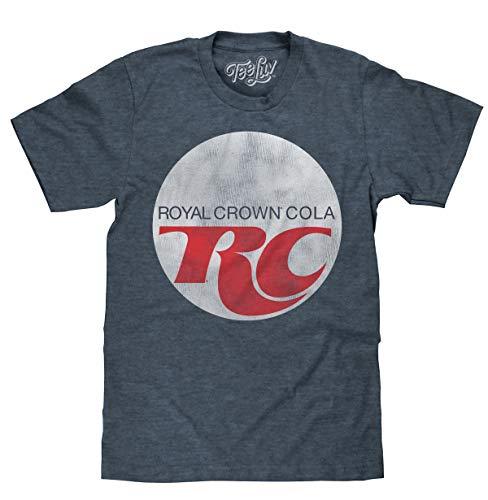 Crown Mens T-shirt - Tee Luv Royal Crown Cola T-Shirt - Retro RC Cola Soda Logo Shirt (Large) Indigo/Black Heather