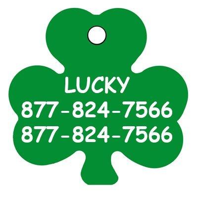(CNATTAGS Pet ID Tags, Shamrock Irish Clover Shape, Personalized Premium Aluminum (Green))