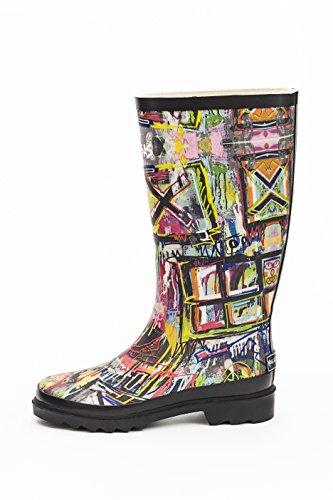 Hollenberg Bros Womens Rain Boots, Slip On, Waterproof and Stylish Graffiti Artwor (10, Tall)