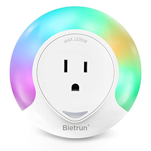 - [Second Generation]Plug-in Night Light with 2-Outlet Extender, RGB Color Changeable LED Night Lamp, Warm White Night Lighting Dusk to Dawn Sensor, for Baby Room, Bedroom, Hallway, Kitchen