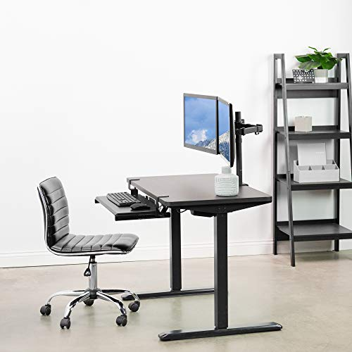 VIVO Electric Height Adjustable 43 x 24 inch Memory Stand Up Desk, Espresso Solid One-Piece Table Top, Black Frame, Standing Workstation with Preset Controller, DESK-KIT-1B4E