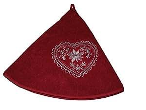 essuie- mano bordado corazón edelweiss 70x 70Bordeau