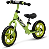 ENKEEO 12 Sport Balance Bike No Pedal Walking Bicycle with Carbon Steel Frame, Adjustable Handlebar and Seat, 110lbs Capacity for Ages 2 to 6 Years Old, Green
