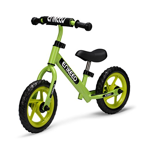 - ENKEEO 12 Sport Balance Bike No Pedal Walking Bicycle with Carbon Steel Frame, Adjustable Handlebar and Seat, 110lbs Capacity for Ages 2 to 6 Years Old, Green