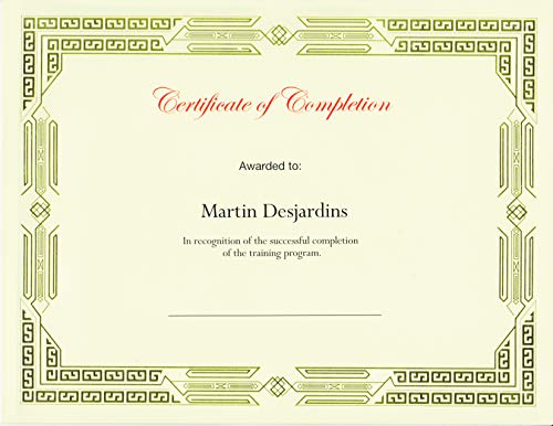 """St. James Award Certificates, Premium Weight, 15 Blank Ivory Paper Sheets with Gold Foil Metallic Border, Laser & Inkjet Printer Compatible, 11 x 8.5"""""""