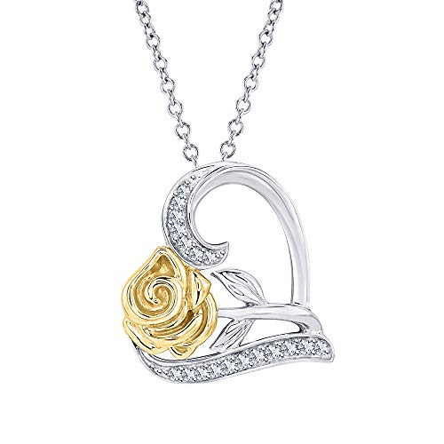 Dazzling Rose Flower Heart Pendant Necklace White Diamond 14k Two-Tone Gold Over .925 Sterling Silver for Womens