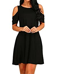 Long Sleeve Women's Cold Shoulder with Pockets Casual Swing T-Shirt Dresses