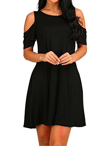 HAOMEILI Women's Cold Shoulder with Pockets Casual Swing T-Shirt Dresses (X-Large, Black)