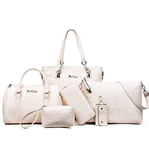 6-Piece Women Fashion Handbags And Purese Set Female Shoulder Bags Tote Bags (white) Boston Tote Bag Purse