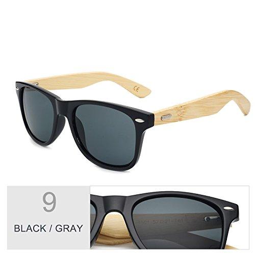 espejo real gafas de mujer Sunglasses marrón sol Gafas de Gray de Multi bambú Black TL de de sol madera hombre por color el 8S6xA