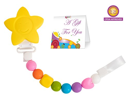 (Teether Toy Pacifier Clip - 2 Color Options - Baby Girl or Boy Star Beaded Silicone Teething Toy and Pacifier Clip - (Yellow Rainbow Colors) Greeting Card Included for Baby Gifts)