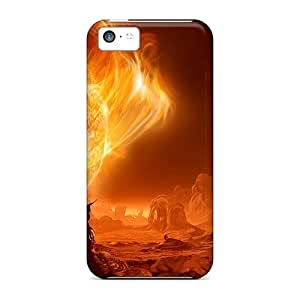 Durable Defender Cases For Iphone 5c Tpu Covers(cool 3d Fire)