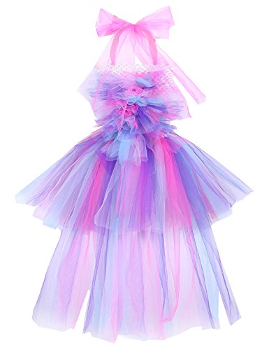 YiZYiF Girls Inspired Mythical Outfit Birthday Tutu Party Dress with Horn Hair Hoop Ballet Costumes Colorful with Train 5-6 by YiZYiF (Image #2)