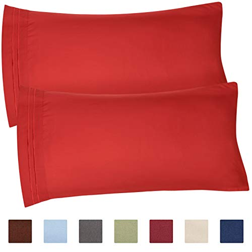 CGK Unlimited King Size Pillow Cases Set of 2 - Soft, Premium Quality Hypoallergenic Red Pillowcase Covers - Machine Washable Protectors - 20x40, 20x36 & 20x48 Pillows for Sleeping 2 ()