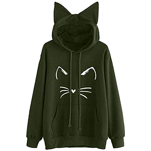 Womens Japanese Kawaii Style Kitty Cat Print Pocket Long Sleeve Thin Hoodie - Boatneck Print Top