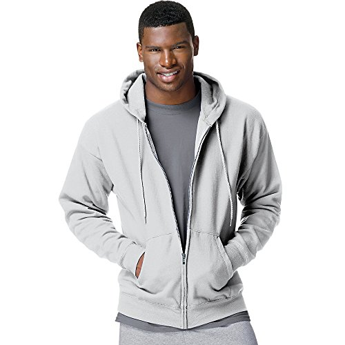 Hoody Sweatshirt Full Zip Ash (Hanes Men's ComfortBlend EcoSmart Full-Zip Hoodie, Ash, 2XL US)