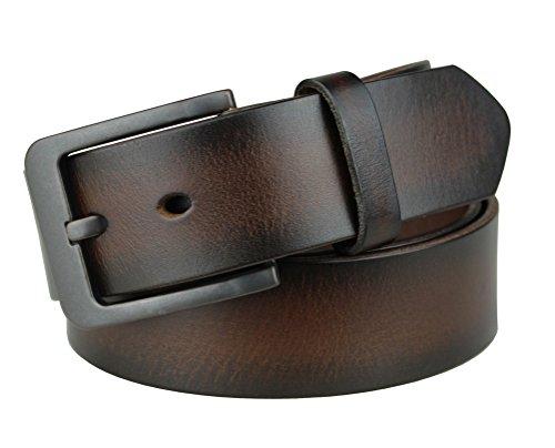 Bullko Men's Retro Pin Buckle 7060 Genuine Leather Belt Coffee 32-34inch (Retro Buckle)