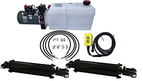 DUAL CYLINDER 5' x 10' Dump Trailer Kit with double acting KTI Pump ()