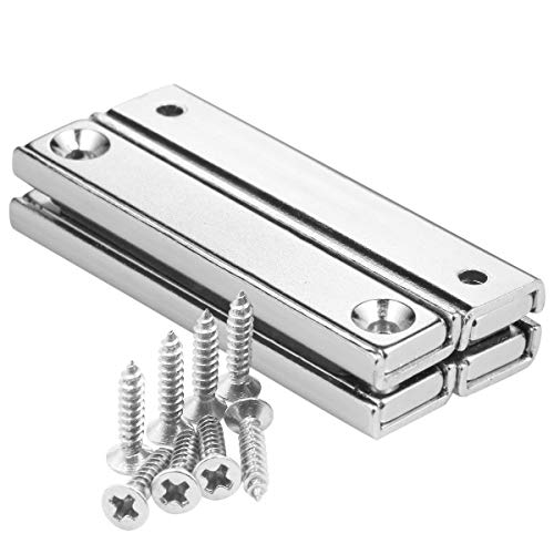 Wukong Neodymium Bar Magnets Rectangular Pot Magnets with Counter Bore and Screws Powerful 70lbs Pulling Force Each Metal Tool Organizer 2.36