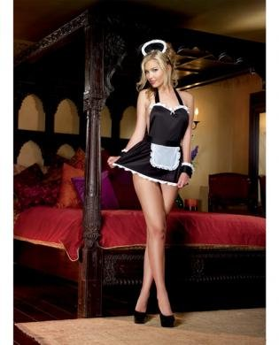 4pc Maid Me Dirty Apron&amp#44 Cap&amp#44 French Cuffs&amp#44 Panty - Black/White O/S