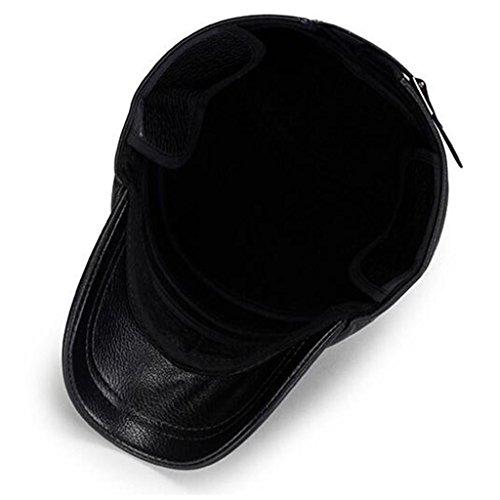 Aged invierno pu de cuero más Brown Cap el Ocio hombres gruesa ZHAS Hat oído moda Middle Proteger Gorro de HxZ4Ov