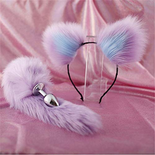 Make life wonderful Purple Three Sizes Fluffy Faux Fox Tail & Cat Ears Headband Charms Role Play Costume Party Masquerade Cosplay Prop (Purple & Blue, M) -