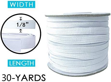 DIY Elastic Cord for DIY Handmade 100-Yards Length 1//8 Width White Braided Elastic Rope High Elasticity Elastic Bungee for DIY Crafts /& Sewing