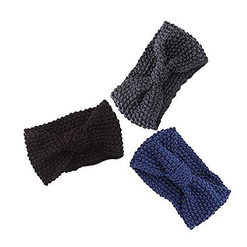 Hat for Women Autumn,Women Hair Ball Knitting Headband Elastic Handmade Bow Twisted Design Hairband,Women's Golf Clothing,C,One Size]()