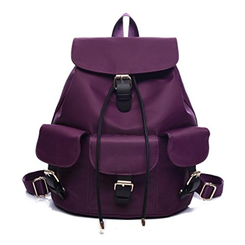 YINGER Mujer Nylon Mochila doble hombro Alta capacidad Bolsa de viaje Impermeable Bolso de hombro , Deep blue purple