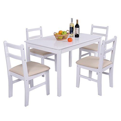Home White 5 Pcs Pine Wood Dining Table Set 4 Chair Breakfast Kitchen square table: 46.4''x28.7''x28.7''(LXWXH) by L-PH