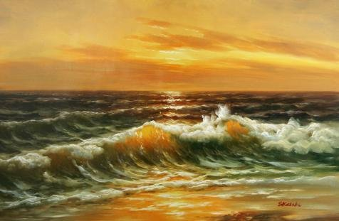 Oil Painting 'Charming Seascape With Sea Waves', 18 x 28 inch / 46 x 70 cm , on High Definition HD canvas prints is for Gifts And Game Room, Kitchen - Optical Hours Van