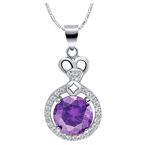 Women Pendant Necklace Silver Plated Cubic Zirconia Purple Circle Silver Necklace for Her by Aienid (Victorian Man Figurine)