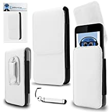 HTC U11 White PU Leather Vertical Executive Side Pouch Case Cover Holster with Belt Loop Clip and Magnetic Closure and Re-Tractable Stylus Pen For HTC U11