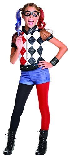 Heroes And Villains Womens Costumes (Rubie's DC Superhero Girl's Harley Quinn Costume, Large)