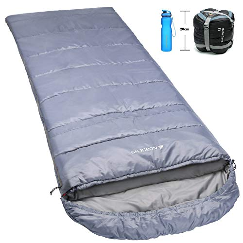 NORSENS Hiking Camping Backpacking Sleeping Bag Lightweight/Ultralight Compact, 0 Degree Cold Weather Sleeping Bags for Adults (Gray)